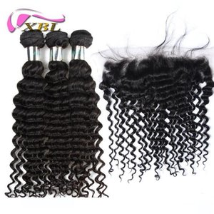 XBL Deep Wave Lace Frontal Malaysian Virgin Hair Lace Frontal Within Bundles Body Wave Loose Wave Straight Curly