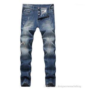 Длинные мужские джинсы Середина талии Regular Омывается Zipper Fly Мужские джинсы Мужчины Одежда Light Blue Straight