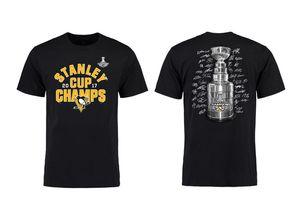 87 Сидни Кросби Мэтт Мюррей Евгени Malk Pittsburgh Penguins Black 2017 Чемпионы Стэнли Название Количество T-Shirt для мужчин