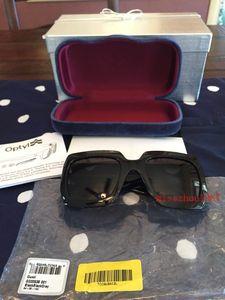 Yeni moda satış kadın tasarımcı güneş gözlüğü kutuları ile 0083 S kare kare elmas en kaliteli popüler zarif stil uv400 koruma