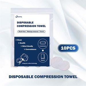10/20 / 50pcs ضغط منشفة القطن المضغوطة ورقة منشفة قابلة للتصرف ذات نوعية متنقلة في الهواء الطلق