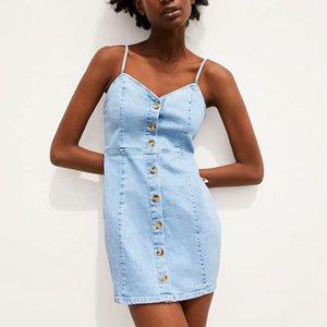빈티지 버튼 캐주얼 데님 드레스 여성 sundress에 청바지 스파게티 스트랩 여름 드레스 2020 미니 vestidos 드레스