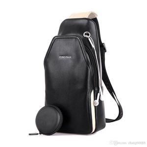 Crazy2019 Men PU Leather Boys Chest Bag Attractive Crossbody Bag Men's Clutch Shoulder Bags For Men's Headphone Plug Chest Pack