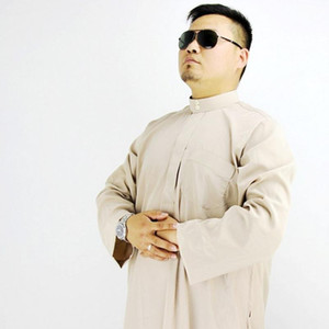 Primavera de poliéster para adultos Abaya islámico robe para hombre musulmán Thobe Ropa de Hombre étnico Batas Oriente Medio árabe Kaftan Jubba A61509