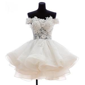 2021 Yeni Güzel Kısa Mezuniyet Elbiseleri Sweetheart Çiçek Organze Mezuniyet Dresse Parti Balo Resmi Elbise Mini Parti Elbise