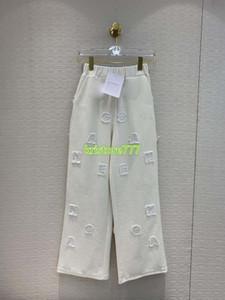 High End Frauen Luxuxentwurf Aufmaß Brief Cotton Hose mit weitem Bein Mädchen beiläufige lose lange Hosen Weibliche Runway Active Hosen