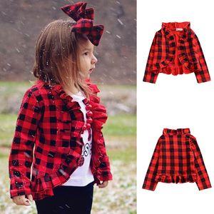Дети девушки красный плед пальто 2019 весна осень дети с длинным рукавом решетки рюшами пиджаки модули кардиган куртки Детская одежда C5705