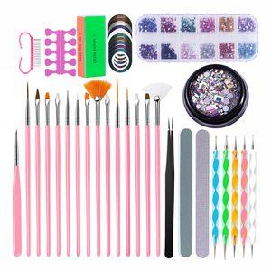PRO Nail Set Маникюрный набор Стразы для ногтей Стразы пинцет сайлентблоков Файлы Dust Brush Pen расставить Tools Kit Design