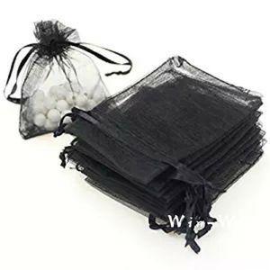 Negro 100pcs Candy Gift Organza Drawstring Bag 7x9 9x12 13x18cm Organza Gift Jewelry Bolsas Bolsa de malla al por mayor para embalaje