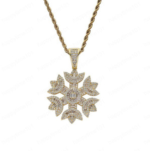 Iced Out Zircon Snowflake pendant Necklace With Tennis Chain Bling Hip Hop Gold Silver Color Mens Women Charm Chain Jewelry New