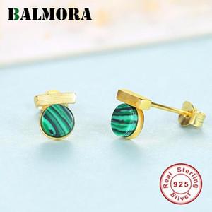Balmora% 100 Gerçek 925 Gümüş Güzel turkuaz saplama Küpe Kız Koreli Stil Küpe Takı Brincos için