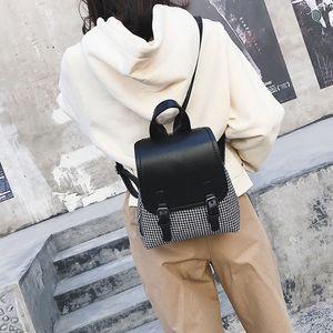 Designer-femmes en cuir Sac à dos Ado classique Sacs à dos épaule Rucksack Houndstooth bookbags Laine école Sac Satchel Voyage