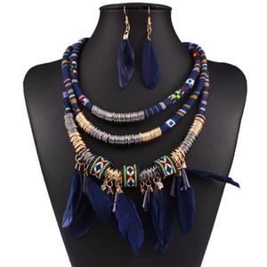 pluma de la manera collar de cuerda col étnica de múltiples capas borla collar y los pendientes de la joyería de la mujer