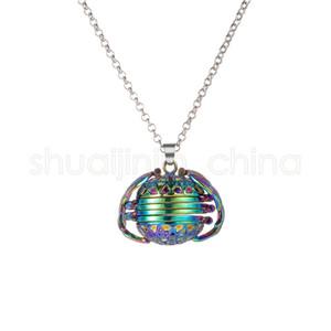 Rainbow Photo Magic Locket Necklace 4 Photo Pendant Memory Floating Angel Wings Flash Box Fashion Album Box Necklaces TTA-1097