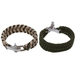 NEW-2 Pcs 7 Strand Survival Weave Bracelet Cord Buckle , Green with Khaki