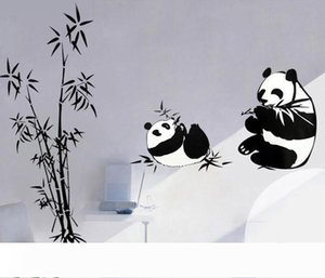 High Quality Panda Wall Decals Cartoon Roaming in bamboo Home Decor Stickers& Panda Removable PVC Stickers Art Wall Decor Free shopping