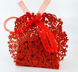 Schnür-Pralinenschachtel Süßigkeiten Stiefmütterchen Hohlquadrat Europäische Hochzeit Pralinenschachtel Ribbon Pralinenschachtel Pearl Papier