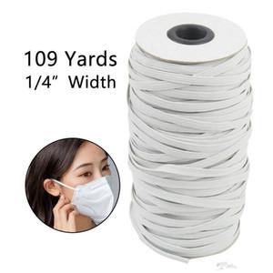 DHL de envío rápido! 109 yardas Longitud de bricolaje trenzado del cordón de punto elástico Band Banda de costura Ampliamente utilizado para las máscaras de 3 mm