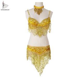 Frauen Bauchtanz-Kleidung Eastern Stil wulstige Top und Gürtel Adjustable 2ST Kostüme für Bauchtanz-BH-Kostüm mit Halskette