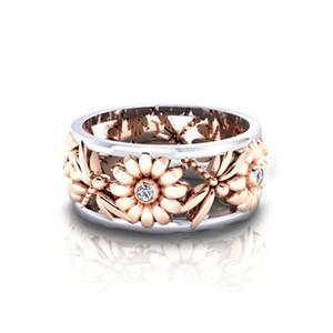 Diamond Ring Flower Daisy évider Bague en or rose Dragonfly bande de femmes Bague Fashion