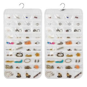 80 Pockets Jewelry Hanging Organizer Earrings Necklace Jewelry Display Holder Dual Sided Jewellery Storage Bag Display Pouch