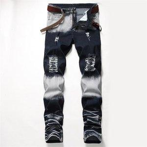Agujeros Distrressed azul blanca se extienden larga para hombre de los pantalones vaqueros rectos regular mediados de cintura pantalones para hombre Moda Hombre Ropa