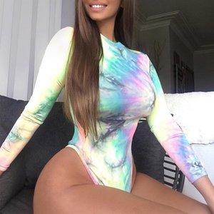 Frauen-Overalls Mode Tie Dye-Kontrast-Farben-Overalls beiläufige Stehkragen Langarm-Shorts Jumpsuits Damenmode