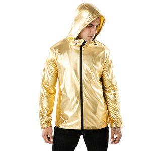 hanche Veste de mode masculine hop de style streetwear mens sport actif portant un coupe-vent à capuche Sliver Taille de l'or couleur noire S-2XL