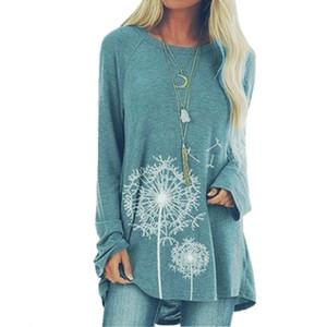 Дизайнер печати футболка топ с длинным рукавом Женщины Повседневная тройники свободные O-образным вырезом футболки большой плюс Размеры 5XL Леди топы Женская одежда