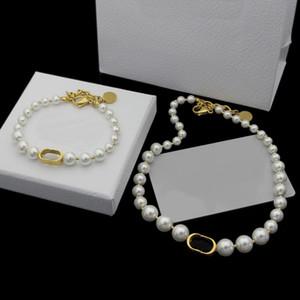 Joyería de Europa América de la manera fija de acero señora de las mujeres de titanio blanco natural de la cadena de la perla collares pulseras con la letra D colgante