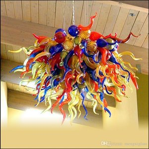 Antik Indoor Dekorative Designer Lange Kronleuchter mundgeblasenem Glas Kronleuchter Beleuchtung geblasenem Glas Kette Pendelleuchten Led-Leuchten