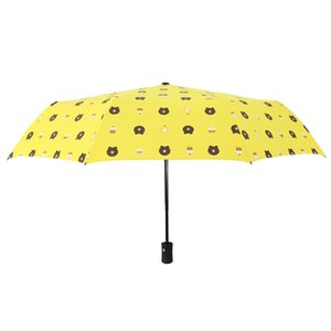 Umbrella three fold fully automatic vinyl anti-shade shade sunny day rainy day dual-use umbrella student cartoon cute bear folding umbrella