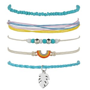 Wholesale European and American accessories hand-woven colorful wax rope rice beads bracelet 5 sets of leaves rainbow bracelet1323