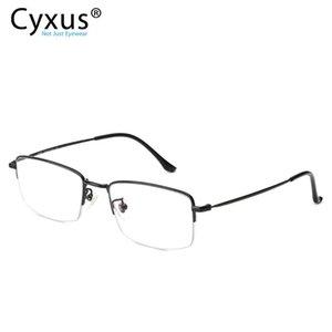 Cyxus Blue Light Blocking Glasses for Eye Strain Relief Half Frame Transparent Lens Rectangle Unisex Computer Eyewear 8732