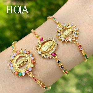 FLOLA Многоцветный Богородица браслеты для женщин Кристалл Браслеты Подвеска Золото Христианского ювелирные изделия Virgen-де-Гуадалупе brtc09