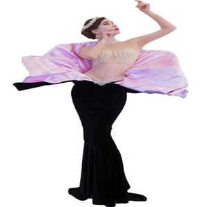 V82 Bar theme shell Mermaid evening long dresses ds pink black see-through dance costume catwalk mesh skirt cosplay pearl outfit party wears
