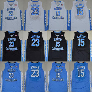 Salto NCAA North Carolina Tar 15 Carter 23 Michael faculdade azul branco baratos preto jersey camisas Basketball Jerseys costurado Logos