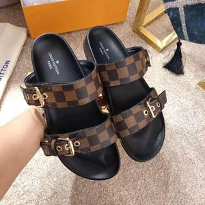 Мода роскошные сандалии вперед 2019 горячие продажи сандалии для мужчин и женщин плоские тапочки высокое качество цветок печатных тапочки шлепанцы V54