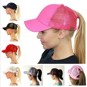 Women Ponytail Visor Cap Baseball Ball Caps Hat Mesh Back Hole Casquette Snapbacks Girls Horsetail Hats Adjustable Hip Hop Cap Topee New