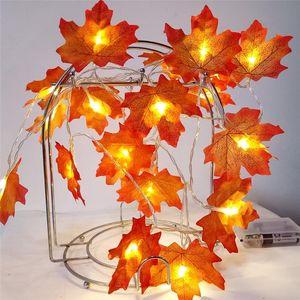 20set Düğün Plastik Yapay Çiçekler Maple Leaves Dize Işık Garland Yapay Bitkiler Kurutulmuş Çiçek Çelenk +10 LED