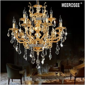 Modern Luxury 12 Arms Crystal Chandelier Lamp Gold Suspension Lustre Crystal Pendant Light for Foyer Lobby MD8857 L8+4 D750mm H750mm