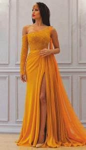 Yellow Chiffon Evening Dresses Sexy Sheath Long Sleeves Saudi Arabic Dubai Long Prom Gown Plus Size Party Dress