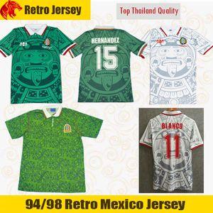 94 98 레트로 멕시코 축구 유니폼 BLANCO 1994 1998 클래식 셔츠 멕시코 HERNANDEZ 축구 셔츠