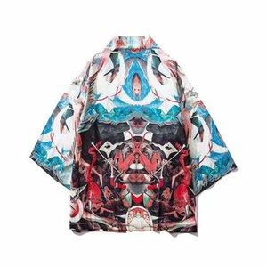 Kimono japonais hommes Haori Obi Vêtements Samurai Vêtements Chemisier Yukata Homme Imprimer Hip Hop Kimono Cardigan