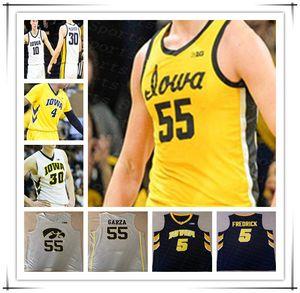 Personalizado Iowa Hawkeyes 2021 College Basketball Jersey Luka Garza Joe Toussaint Bohannon CJ Fredrick Joe Wieskamp Connor McCaffería PEMSL 4XL