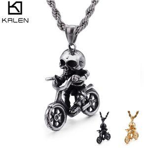 Hip Hop Fahrrad Schädel Anhänger Halskette Für Männer Männlichen Jungen Mode Edelstahl Biker Schmuck Geschenk