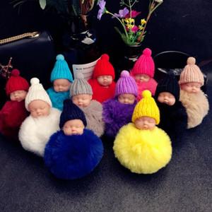 12 farbe niedlich schlafende baby doll keychain pompom kaninchen pelz kugel schlüsselkette auto keyring frauen schlüsselhalter tasche anhänger