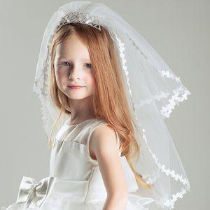 Girl's veil flower girl's hair accessories white Accessories Wedding princess wedding dress headdress Crown multi-layer headdress