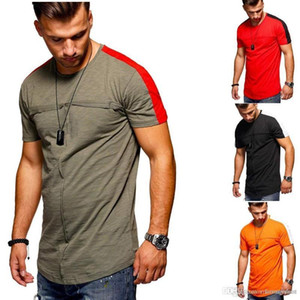 الألوان المرقعة بالاضافة الى حجم تيز مصمم الصيف 19ss جديد قصير ذو أكمام قمصان رجالي بلايز موضة