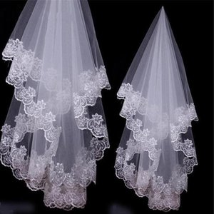 Freies Verschiffen-weiße / Elfenbein-Spitze applique Rand einer Schicht 1,5 m lang Brautschleier / Brautschleier / Brautzubehör Günstige